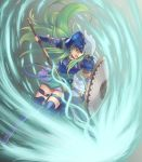 1girl armor artist_name fire_emblem fire_emblem:_path_of_radiance full_body green_hair helmet highres holding holding_shield long_hair nephenee open_mouth polearm shield skirt solo thigh_strap weapon white_skirt will_(willanator93)