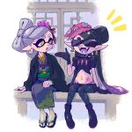 +_+ 2girls ankle_boots aori_(splatoon) arm_support black-framed_eyewear black_collar black_footwear black_gloves black_hair black_jacket black_kimono black_legwear black_shirt black_shorts boots brown_eyes collar commentary cousins crop_top domino_mask earrings fangs food food_on_head gesture gloves hair_ornament haori hideyoshi_(swliyhbpe9xqqze) highres hotaru_(splatoon) jacket japanese_clothes jewelry kimono long_hair looking_at_another mask midriff mole mole_under_eye multiple_girls notice_lines obi object_on_head octopus open_mouth pantyhose pointy_ears puffy_short_sleeves puffy_sleeves sandals sash shirt short_hair short_shorts short_sleeves shorts shouji skindentation sliding_doors smile spiked_belt spiked_collar spikes splatoon_(series) splatoon_2 stomach_tattoo sunglasses sushi tako-san_wiener tattoo tentacle_hair