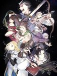 alfyn_(octopath_traveler) armor bangs blonde_hair blue_eyes bracelet braid braided_ponytail brown_hair cloak cyrus_(octopath_traveler) dancer dress earrings fingerless_gloves fringe_trim gloves h'aanit_(octopath_traveler) hair_between_eyes hair_over_one_eye hat jewelry long_hair multiple_boys multiple_girls necklace oboro_keisuke octopath_traveler olberic_eisenberg open_mouth ophilia_(octopath_traveler) polearm ponytail primrose_azelhart scarf short_hair simple_background smile spear therion_(octopath_traveler) tressa_(octopath_traveler) weapon white_hair