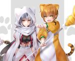 animal_costume animal_ears animal_hood bead_necklace beads black_hair blush breasts brown_eyes brown_hair cat_ears fang fate/grand_order fate_(series) hair_between_eyes hane_yuki highres hood jaguarman_(fate/grand_order) jewelry leaning_forward long_hair looking_at_viewer medium_breasts midriff multicolored_hair nagao_kagetora_(fate) necklace open_mouth paw_print polearm scarf short_hair smile sparkling_eyes spear two-tone_hair very_long_hair weapon white_hair yellow_eyes