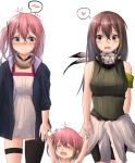 3girls artist_request bangs bare_shoulders black_eyes black_hair blue_eyes blush breasts closed_eyes clothes_around_waist girls_frontline green_hair gun hair_between_eyes heart highres holding holding_gun holding_weapon jacket jacket_around_waist long_hair m4a1_(girls_frontline) multicolored_hair multiple_girls one_side_up open_mouth pink_hair ribbed_sweater side_ponytail smile speech_bubble spoken_blush spoken_heart st_ar-15_(girls_frontline) streaked_hair sweater weapon