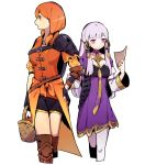 2girls apple basket black_gloves closed_mouth dress fire_emblem fire_emblem:_three_houses food fruit gloves haconeri hair_ornament holding holding_basket leonie_pinelli long_hair long_sleeves looking_to_the_side lysithea_von_ordelia multiple_girls open_mouth orange_eyes orange_hair pink_eyes shorts simple_background white_background white_hair white_legwear