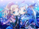 2girls black_gloves blonde_hair blue_background blue_eyes blue_hair braid elbow_gloves finger_to_mouth gloves hair_ornament hair_wings idunn_&_idunna idunna_(p&d) long_hair multiple_girls naruki ponytail puzzle_&_dragons twintails upper_body