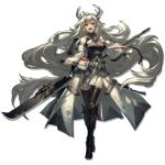 1girl absurdly_long_hair armor bangs belt black_footwear black_jacket black_legwear breasts detached_sleeves dress eyebrows_visible_through_hair glaive greaves grey_hair holding holding_polearm holding_weapon horns jacket large_breasts long_hair long_sleeves looking_at_viewer matoimaru_(arknights) official_art pointy_ears polearm pouch red_eyes ryuuzaki_ichi short_eyebrows shoulder_armor sleeveless_jacket solo standing strap thick_eyebrows thigh-highs transparent_background very_long_hair weapon white_dress white_jacket white_sleeves wide_sleeves