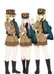3girls absurdres aiguillette armband asparagus_(girls_und_panzer) bc_freedom_military_uniform belt black_belt black_footwear black_headwear black_neckwear blonde_hair blue_eyes blue_jacket boots brown_jacket brown_skirt cake closed_eyes color_connection crossed_arms dress_shirt drill_hair food fork girls_und_panzer girls_und_panzer_ribbon_no_musha hair_color_connection hand_on_hip hat highres holding holding_fork holding_saucer jacket jacket_on_shoulders kepi knee_boots long_hair long_sleeves looking_at_viewer marie_(girls_und_panzer) medium_hair military military_hat military_uniform miniskirt multiple_girls necktie oshida_(girls_und_panzer) perfect_han pleated_skirt shirt short_hair simple_background skirt smile smirk standing uniform v-shaped_eyebrows white_background white_shirt