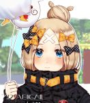 1girl abigail_williams_(fate/grand_order) absurdres artist_request bangs belt black_bow blue_eyes blurry blurry_background blush bow commentary_request dated fate/grand_order fate_(series) hair_bow hair_bun highres holding holding_balloon looking_at_viewer orange_bow parted_bangs polka_dot polka_dot_bow smile solo yellow_belt