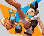 1girl ass barefoot blue_eyes bodysuit_under_clothes breasts dark_skin feet hairband high_kick highres hitmontop kicking nima_(niru54) pokemon pokemon_(game) pokemon_swsh saitou_(pokemon) short_sleeves shorts sportswear
