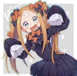 +_+ 1girl :d abigail_williams_(fate/grand_order) alternate_hairstyle bangs black_bow black_dress blonde_hair blue_eyes blush bow bug butterfly crossed_bandaids dress fate/grand_order fate_(series) grey_background hair_bow hands_up insect long_hair long_sleeves looking_at_viewer no_hat no_headwear open_mouth orange_bow parted_bangs polka_dot polka_dot_bow sleeves_past_fingers sleeves_past_wrists smile solo sparkle totatokeke twintails two-tone_background v-shaped_eyebrows very_long_hair white_background