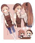 2girls apron bangs blonde_hair blue_eyes blush blush_stickers braid breasts brown_hair chibi closed_eyes closed_mouth coffee_pot collarbone commentary_request expressionless eyebrows_visible_through_hair forced_smile g36_(girls_frontline) girls_frontline green_eyes hair_between_eyes hair_ribbon hair_rings highres holding holding_pot holding_tray large_breasts long_hair looking_at_viewer m1903_springfield_(girls_frontline) medium_breasts mod3_(girls_frontline) multiple_girls multiple_views open_mouth pants ponytail ribbon shirt shoes shuzi sidelocks smile sweatdrop tray very_long_hair