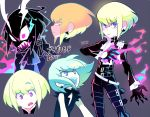 1boy angry belt black_gloves black_hair black_jacket blonde_hair cravat earrings expressions fangs fire gloves green_hair half_gloves horns jacket jewelry lio_fotia male_focus mato_(mozu_hayanie) open_mouth promare signature solo violet_eyes