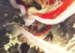 1girl belt blonde_hair boots cape cross-laced_clothes flamberge flamberge_(seojh1029) fur_trim grey_eyes hair_ribbon highres jun_(seojh1029) long_hair looking_at_viewer motion_blur original ribbon sword two-handed_sword weapon