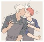 2boys apron archer chopsticks dark_skin dark_skinned_male emiya_shirou fate/stay_night fate_(series) heart highres holding holding_chopsticks k29 kiss long_sleeves male_focus multiple_boys redhead selfcest surprised white_hair yaoi