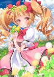 1girl aisaki_emiru arms_up bangs blue_sky blunt_bangs blurry blush bow bowtie clouds commentary_request cure_macherie dandelion day depth_of_field dress eyebrows_visible_through_hair field flower flower_field grass hair_ribbon hands_together head_wreath heart hill holding holding_flower hugtto!_precure kawanobe layered_dress light_particles long_hair looking_at_viewer orange_hair outdoors petticoat pink_dress precure puffy_short_sleeves puffy_sleeves red_eyes red_neckwear ribbon short_sleeves sky smile solo twintails twitter_username