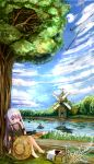 1girl a6m_zero absurdres against_tree alternate_costume arm_support barefoot burning chinese_commentary clouds commentary_request crash cross dated day dirt_road dock door galo_(warship_girls_r) harmonica hat highres instrument music patches picnic_basket playing_instrument puddle purple_hair reeds river riverbank rowboat signature sinking sitting sky solo straw_hat tree violet_eyes warship_girls_r windmill yimaxue yukikaze_(warship_girls_r)