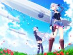 2girls aircraft armband belt bird blue_headwear blue_jacket blue_skirt blue_sky boots brown_footwear c96_(girls_frontline) clouds collared_jacket commentary_request cropped_jacket dirigible emblem flock flower flower_request from_below garrison_cap girls_frontline gloves grifon&kryuger gun hand_to_hat handgun hands_on_thighs hat highleg highleg_leotard highleg_panties holding holding_gun holding_weapon ishimaru_f jacket knee_boots lavender_hair leotard light_rays long_hair looking_ahead looking_up luger_p08 medium_hair mismatched_legwear mountain multiple_girls open_clothes open_jacket p08_(girls_frontline) panties petals red_flower skirt sky striped striped_legwear sunbeam sunlight thigh-highs thigh_pouch thigh_strap trigger_discipline twintails underwear very_long_hair weapon white_gloves white_hair wind yellow_eyes