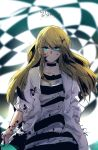 1girl absurdres blonde_hair blood blood_on_face bloody_clothes blue_eyes blurry blurry_background closed_mouth eyebrows_visible_through_hair floating_hair hair_between_eyes hand_in_pocket highres holding jacket long_hair long_sleeves looking_at_viewer minasenatuya open_clothes open_jacket rachel_gardner satsuriku_no_tenshi shirt sketch solo standing striped striped_shirt white_jacket