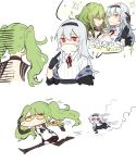 2girls closed_mouth girls_frontline green_hair headband long_hair m950a_(girls_frontline) multiple_girls off_shoulder one_eye_closed red_eyes running silver_hair simple_background thunder_(girls_frontline) tongue tongue_out twintails white_background yellow_eyes zocehuy