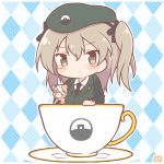 1girl bandages bangs beret blush boko_(girls_und_panzer) brown_eyes brown_hair chibi cup emblem eyebrows_visible_through_hair girls_und_panzer hat holding_toy long_hair long_sleeves mitarashi_neko_(aamr7853) ribbon selection_university_(emblem) selection_university_military_uniform shimada_arisu side_ponytail solo stuffed_animal stuffed_toy teacup teddy_bear