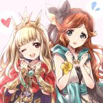 2girls :d ;d artist_name bag bangs black_dress black_hairband blonde_hair blunt_bangs blush brooch brown_hair cagliostro_(granblue_fantasy) cape clarisse_(granblue_fantasy) clenched_hands commentary_request dress eyebrows_visible_through_hair flying_sweatdrops gauntlets gloves granblue_fantasy green_cape green_eyes hairband head_tilt headgear heart highres jewelry kuroi_mimei long_hair looking_at_viewer multiple_girls one_eye_closed open_mouth red_cape red_eyes satchel signature smile standing swept_bangs upper_body white_dress yellow_gloves