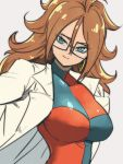 1girl android_21 black-framed_eyewear blue_eyes breasts brown_hair checkered checkered_dress closed_mouth dragon_ball dragon_ball_fighterz dress earrings glasses grey_background hoop_earrings jewelry labcoat large_breasts long_hair looking_at_viewer simple_background smile solo st62svnexilf2p9 two-tone_dress