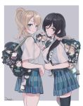 2girls ayase_eli bag bangs black_hair black_legwear blonde_hair blue_eyes bow bowtie closed_mouth collared_shirt commentary_request eyebrows_visible_through_hair green_eyes hair_ornament hair_scrunchie highres looking_at_viewer love_live! love_live!_school_idol_project multiple_girls one_eye_closed parted_lips pleated_skirt ponytail school_bag school_uniform scrunchie shirt shirt_tucked_in short_sleeves skirt thigh-highs toujou_nozomi white_shirt zawawa_(satoukibi1108)