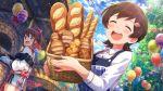 blush bread brown_hair closed_eyes dress idolmaster_million_live!_theater_days kinoshita_hinata short_hair smile