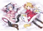 2girls absurdres adapted_costume animal_ear_fluff animal_ears bangs bat_wings black_legwear blonde_hair blue_hair blush boots bow bowtie brown_footwear capelet cat_ears cat_tail coat coat_dress dress earmuffs eyebrows_visible_through_hair fake_animal_ears flandre_scarlet frilled_capelet frills full_body hair_between_eyes hair_ribbon head_tilt high_heel_boots high_heels highres holding huge_filesize looking_at_viewer lying mimi_(mimi_puru) mittens multiple_girls neck_ribbon no_hat no_headwear on_back own_hands_together pantyhose paw_print petticoat pink_capelet pink_coat pink_dress pink_skirt pleated_skirt red_bow red_capelet red_coat red_dress red_eyes red_neckwear red_ribbon red_skirt remilia_scarlet ribbon scan short_hair siblings side_ponytail sisters skirt smile snow snowing tail touhou translated wings yellow_neckwear yellow_ribbon