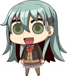 1girl :d aqua_hair bow bowtie brown_jacket brown_legwear brown_skirt cardigan chibi full_body green_eyes hair_ornament hairclip jacket kantai_collection long_hair looking_at_viewer open_cardigan open_clothes open_mouth parody pleated_skirt red_neckwear remodel_(kantai_collection) riyo_(lyomsnpmp)_(style) school_uniform simple_background skirt smile solo style_parody suien suzuya_(kantai_collection) thigh-highs vest white_background