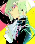 1boy black_jacket close-up cravat earrings face gloves green_hair ichinose777 jacket jewelry lio_fotia looking_at_viewer male_focus portrait promare solo violet_eyes