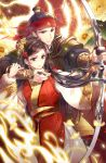 1boy 1girl armor black_hair bow_(weapon) bracer brown_eyes drawing_bow fantasy fire flower gl_ztoh gold_trim hair_flower hair_ornament headband long_hair official_art red_headband serious standing topknot very_long_hair weapon wide_sleeves