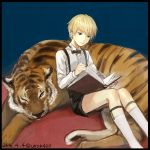 1boy animal black_border black_eyes black_shorts blonde_hair blue_background book border collared_shirt dated feet_out_of_frame holding holding_book long_sleeves lying open_book original reading shirt shorts signature sitting sitting_on_ground socks tiger uraki_(tetsu420) white_legwear white_shirt