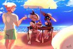 1girl absurdres ahoge artist_name barefoot beach beach_umbrella dark_skin day food gym_leader hairband hat highres ice_cream mask ocean onion_(pokemon) outdoors parasol pokemon pokemon_(game) pokemon_swsh saitou_(pokemon) sand sheery_sbox shirt short_hair short_sleeves shorts smile sun_hat umbrella yarrow_(pokemon)