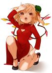 1girl alternate_costume arm_up artist_name bare_legs black_footwear blonde_hair blood bow breasts china_dress chinese_clothes commentary_request crystal dress eyebrows_visible_through_hair fang fangs flandre_scarlet full_body gotoh510 green_headwear hair_between_eyes hat hat_bow highres long_sleeves looking_at_viewer medium_breasts mini_hat mob_cap nail_polish one_knee one_side_up open_mouth orange_bow orange_nails pointy_ears red_eyes shadow shoes short_hair side_slit signature simple_background solo thighs tilted_headwear touhou white_background wings