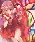 1girl adapted_costume apple ascot bangs blonde_hair blush brooch checkered checkered_floor couch cowboy_shot diamond_(gemstone) dress fang fang_out flandre_scarlet food from_above fruit hat hat_ribbon haya_taro_pochi highres holding holding_food holding_fruit jewelry knee_up lace-trimmed_hat lace-trimmed_neckwear light_particles looking_at_viewer mob_cap on_couch red_dress red_eyes red_ribbon red_theme reflective_eyes ribbon short_hair short_sleeves side_ponytail sidelocks sitting slit_pupils smile solo stained_glass thighs touhou violet_eyes white_headwear wings wrist_cuffs