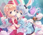 2girls angora_rabbit animal animal_ears black_bow blue_dress blue_eyes blue_hair blurry blurry_background blush bow breasts cherry closed_mouth commentary_request depth_of_field dress fingernails food fruit garrison_cap gochuumon_wa_usagi_desu_ka? hair_bow hair_ornament hat holding holding_tray hoto_cocoa kafuu_chino kemonomimi_mode light_brown_hair long_hair maid_headdress medium_breasts mini_hat mirror multiple_girls neki_(wakiko) parfait parted_lips puffy_short_sleeves puffy_sleeves purple_bow rabbit rabbit_ears red_dress red_headwear reflection roller_skates short_sleeves skates smile standing standing_on_one_leg striped tilted_headwear tippy_(gochiusa) tray twintails vertical-striped_dress vertical_stripes very_long_hair violet_eyes waitress x_hair_ornament