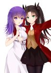 2girls absurdres arm_around_shoulder black_hair black_legwear black_skirt blush breasts dress eyebrows_visible_through_hair fate/stay_night fate_(series) green_eyes hair_between_eyes hair_ribbon highres jacket long_hair looking_at_viewer matou_sakura medium_breasts multiple_girls purple_hair red_jacket ribbon shirt short_sleeves simple_background skirt smile thigh-highs tming toosaka_rin two_side_up v violet_eyes white_background white_dress white_shirt