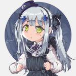 1girl :t absurdres apron bangs black_apron blue_background bow clenched_hands eyebrows_visible_through_hair facial_mark frills girls_frontline green_eyes hair_bow hair_ornament hat highres hk416_(girls_frontline) long_sleeves looking_at_viewer mini_hat persocon93 pout shirt sidelocks silver_hair solo twintails v-shaped_eyebrows white_background white_shirt younger