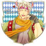 1boy argyle argyle_background battle_tendency blonde_hair caesar_anthonio_zeppeli facial_mark fingerless_gloves gloves happy_birthday headband jojo_no_kimyou_na_bouken male_focus michiru_(amphibian) scarf solo