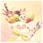 :d alcremie apple_slice artist_name banana_slice cherry food food_on_head fruit fruit_on_head gen_8_pokemon highres ice_cream kiwifruit mandarin_orange melon melon_slice no_humans object_on_head open_mouth orange orange_slice parfait patterned_background pokemon pokemon_(creature) pokemon_(game) pokemon_swsh pudding red_eyes ribbon scorbunny simple_background smile spoon strawberry strawberry_slice taso_(pixiv3111405) tongue tongue_out whipped_cream yamper