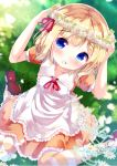 1girl :d apron arms_up bangs blonde_hair blue_eyes blush brown_dress character_name chinomaron collarbone commentary_request day dress dutch_angle eyebrows_visible_through_hair flower flower_wreath frilled_apron frilled_dress frills gochuumon_wa_usagi_desu_ka? grass happy_birthday head_wreath highres kirima_sharo mary_janes neck_ribbon on_grass open_mouth outdoors pantyhose puffy_short_sleeves puffy_sleeves red_footwear red_ribbon ribbon shoes short_sleeves sidelocks sitting smile solo striped striped_legwear wariza white_apron white_flower
