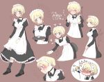 1girl aaru_(kerogero1582) apron bangs blonde_hair blue_eyes blush braid brown_background collar darjeeling french_braid girls_und_panzer heart highres leaning_forward long_sleeves maid maid_headdress open_mouth orange_hair orange_pekoe ribbon simple_background socks standing sweatdrop thumbs_up tied_hair tray