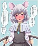 ... 1girl animal_ears blue_background blush commentary_request dowsing_rod dress eyebrows_visible_through_hair flat_chest fusu_(a95101221) grey_dress grey_hair highres jewelry long_sleeves looking_at_viewer mouse_ears nazrin pendant red_eyes shiny shiny_hair short_hair solo touhou translation_request