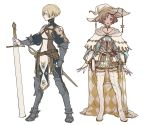 2girls armor belt belt_pouch blonde_hair book boots collar corset dagger gloves green_eyes high_collar multiple_girls original pelvic_curtain pointy_hat pouch soft_men standing sword thigh-highs thigh_boots underbust weapon white_headwear