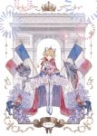 1girl absurdres arc_de_triomphe azur_lane bangs bastille_day blonde_hair blue_eyes blush breasts cape epaulettes fireworks french_flag gauntlets hair_ornament highres holding le_triomphant_(azur_lane) looking_at_viewer paris sera1023 small_breasts smile solo striped striped_legwear thigh-highs
