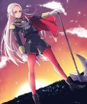 1girl ataka_takeru axe blonde_hair blue_eyes cape cravat edelgard_von_hresvelgr_(fire_emblem) fire_emblem fire_emblem:_fuukasetsugetsu fire_emblem:_three_houses fire_emblem_heroes gloves hair_ornament hair_ribbon intelligent_systems long_hair looking_at_viewer nintendo pantyhose red_cape ribbon simple_background smile solo uniform weapon
