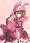 1girl animal_ears animal_hat bangs blush boots brown_eyes brown_footwear brown_hair bullpup bunny_hat commentary_request cross-laced_footwear eyebrows_visible_through_hair fake_animal_ears fujisaki_yuu fur-trimmed_gloves fur-trimmed_jacket fur_trim gloves gun hat holding holding_gun holding_weapon jacket knee_pads lace-up_boots llenn_(sao) long_sleeves looking_at_viewer open_mouth p-chan_(p-90) p90 pants pink_gloves pink_headwear pink_jacket pink_pants rabbit_ears shoe_soles sitting solo submachine_gun sword_art_online sword_art_online_alternative:_gun_gale_online v-shaped_eyebrows weapon