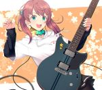 1girl :d black_shirt black_skirt brown_hair brown_legwear collar commentary_request cowboy_shot eyebrows_visible_through_hair fingernails green_eyes guitar hair_ornament hair_scrunchie holding holding_instrument hood hood_down hoodie instrument itou_(onsoku_tassha) long_hair long_sleeves looking_at_viewer monochrome music open_mouth original pantyhose playing_instrument plectrum round_teeth scrunchie shirt short_over_long_sleeves short_sleeves simple_background skirt smile solo standing star_(symbol) teeth trail upper_teeth white_background white_hoodie yamaha_revstar