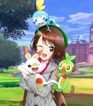 1girl ;d absurdres blue_sky blurry blurry_background brown_eyes brown_hair clouds collared_shirt female_protagonist_(pokemon_swsh) gen_8_pokemon green_headwear grey_cardigan grookey highres holding holding_pokemon hooded_cardigan long_sleeves looking_at_viewer one_eye_closed open_mouth outdoors pokemon pokemon_(creature) pokemon_(game) pokemon_on_head pokemon_on_shoulder pokemon_swsh red_shirt scorbunny shiny shiny_hair shirt short_hair sky smile sobble teamfor_k wing_collar