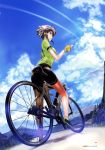 1girl asada_shino bicycle bicycle_helmet bike_shorts black_footwear black_hair black_shorts blue_sky breasts brown_eyes clouds condensation_trail day fingerless_gloves from_below gloves green_shirt ground_vehicle helmet highres looking_at_viewer medium_breasts mikazuki_akira! outdoors page_number profile shirt shoes short_hair short_shorts short_sleeves shorts sky sneakers socks solo standing sword_art_online white_footwear yellow_gloves
