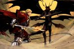 2boys armor blonde_hair blood blood_on_face cape demon_horns demon_wings fighting_stance gargouille gauntlets gloves holding holding_sword holding_weapon horns laurel_knight_sylvester multiple_boys outdoors pixiv_fantasia pixiv_fantasia_last_saga red_cape red_eyes sankyou standing sword tail third_eye weapon wings yellow_sky